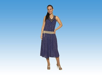 Golden Lace Trim V Long Dress with MEANDROS - Greek souvenirs