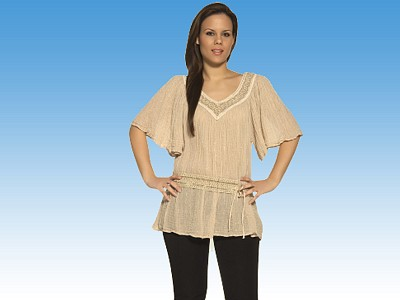 Golden Lace Trim blouse MEANDROS - Greek souvenirs